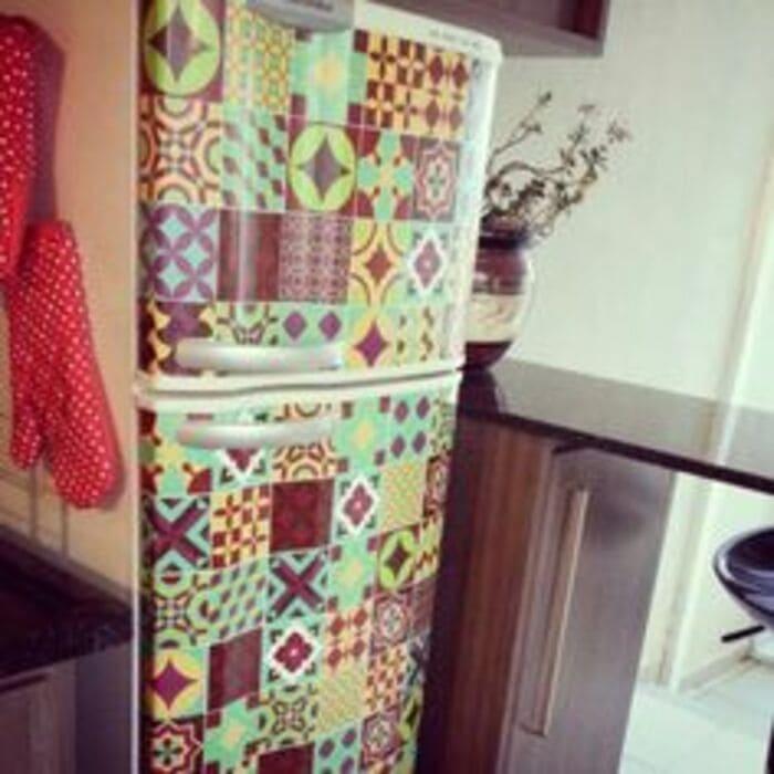 декупаж холодильника Пэчворк